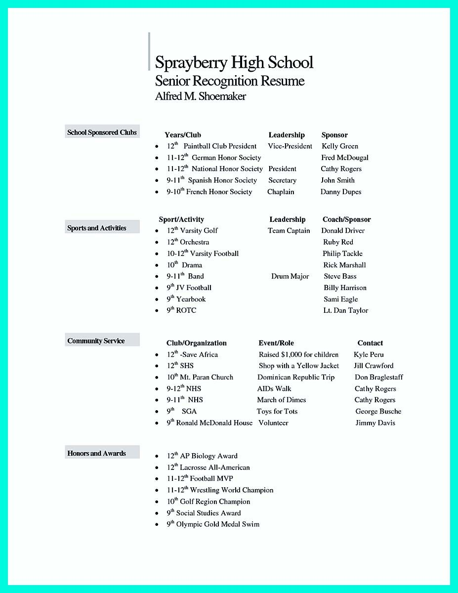 Awesome Making Simple College Golf Resume With Basic But Effective Information Resume National Honor Society Resume Template
