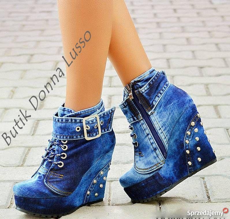 Koturny Jeansowe Z Cwiekami 36 41 Takze Hurt Boots Shoe Style Wedge Sneaker