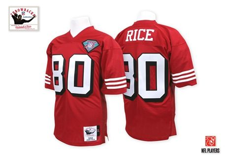 ccff97ff8 Mitchell And Ness 75TH 1994 San Francisco 49ers #80 Jerry Rice Red Team  Color Throwback Authentic Jersey