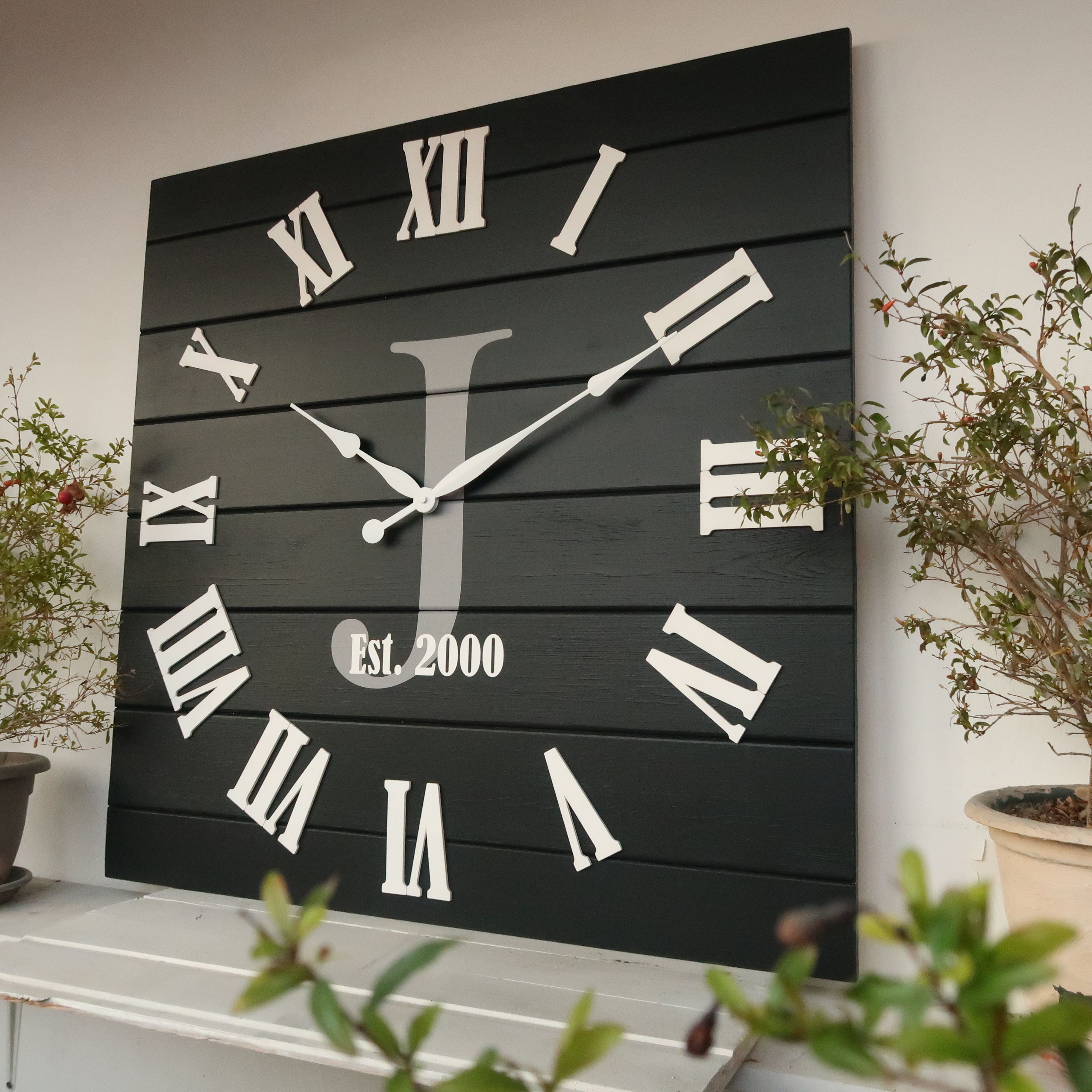 28 30 33 Personalized Square Wall Clock Etsy In 2020 Distressed Wall Clock Wall Clock Square Wall Clock