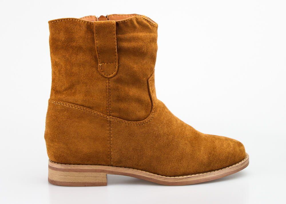 Botki Kowbojki Zamszowe Ocieplane Na Koturnie Kamelowe Boots Chelsea Boots Shoes