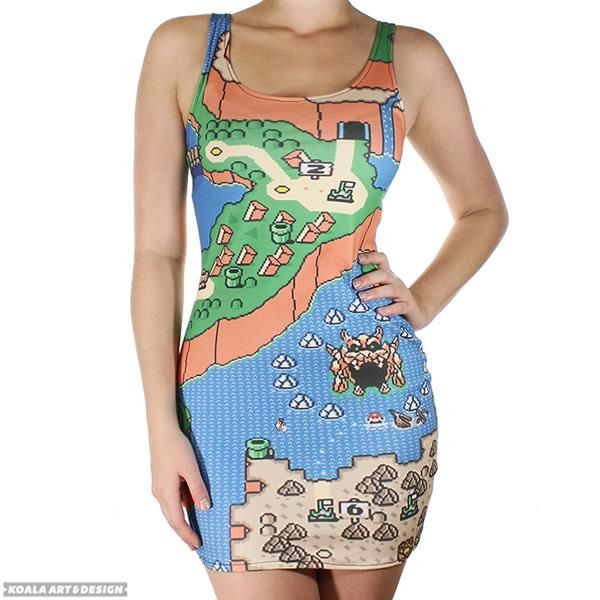Super mario map dress turns you into the game fashion gear super mario world map dress gumiabroncs Choice Image
