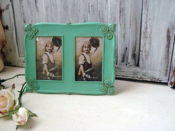 Antique Aqua Ornate Double Frame, Patina, Shabby Chic Distressed ...