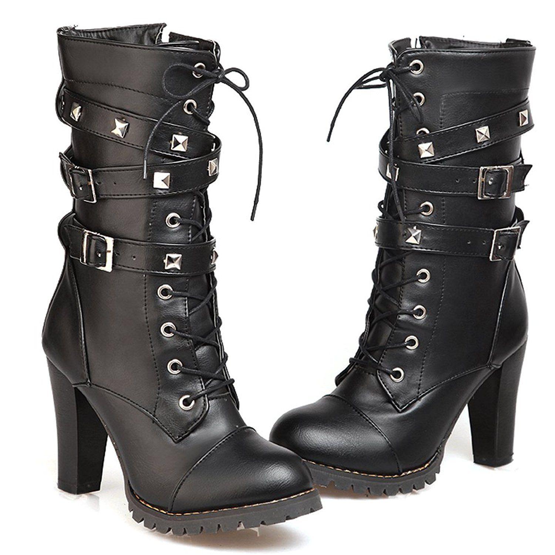 Women's High Heels Mid Calf Cowboy Boots Slip On Western Boots Autumn Winter Shoes