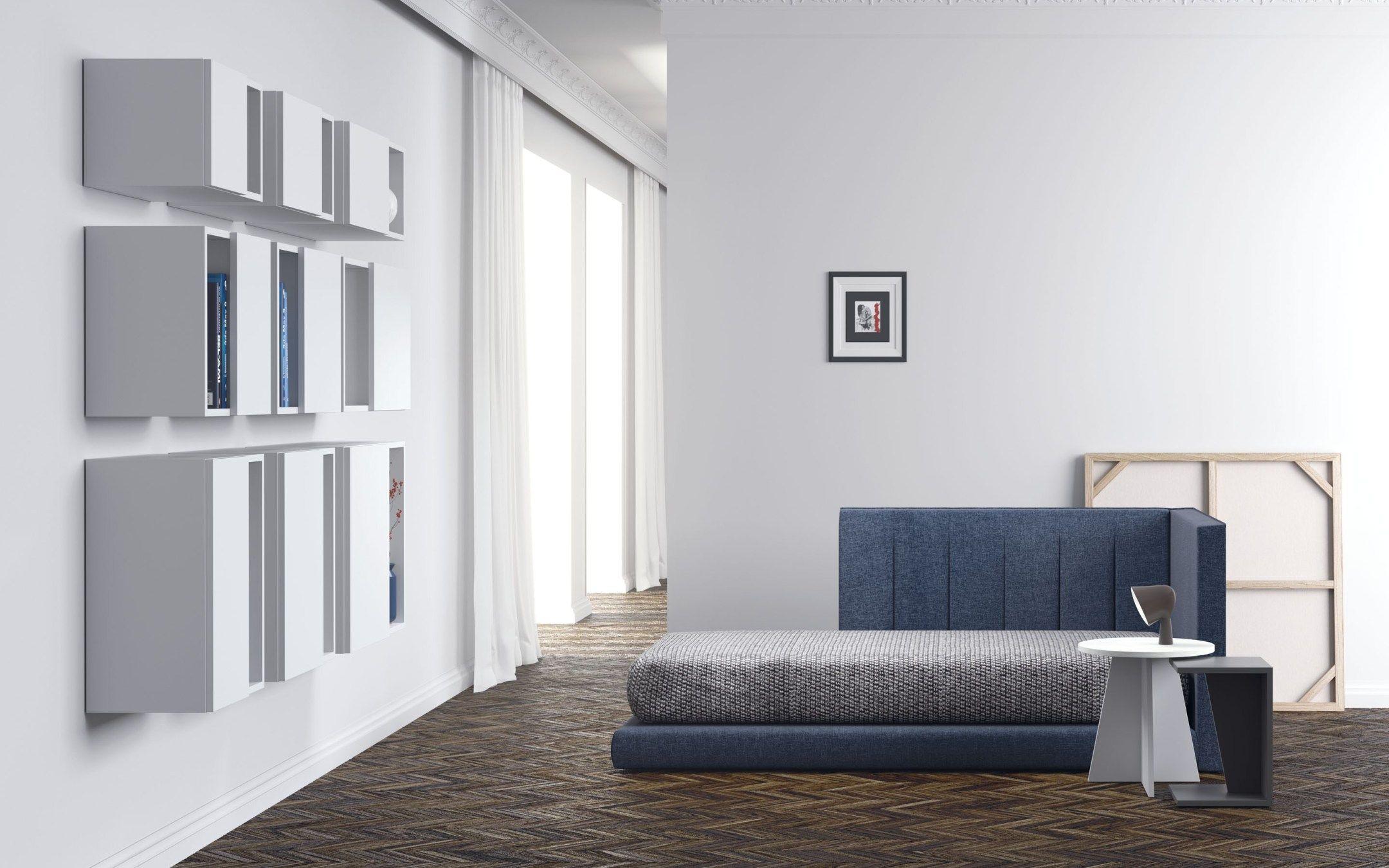 Cama Juvenil Tapizada En Azul Muebles Para Tienda