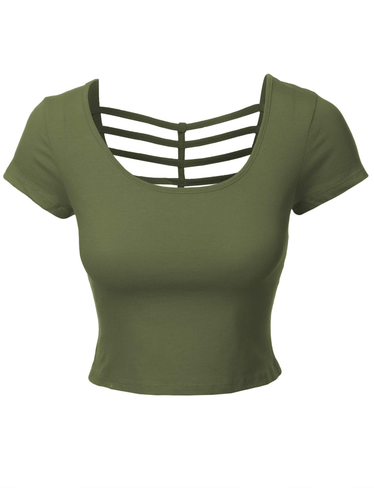 e381bd30aee LE3NO Womens Fitted Cropped Tee with Cross Cut Outs | My Fashion in ...