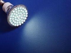 LED light bulb on a blue background