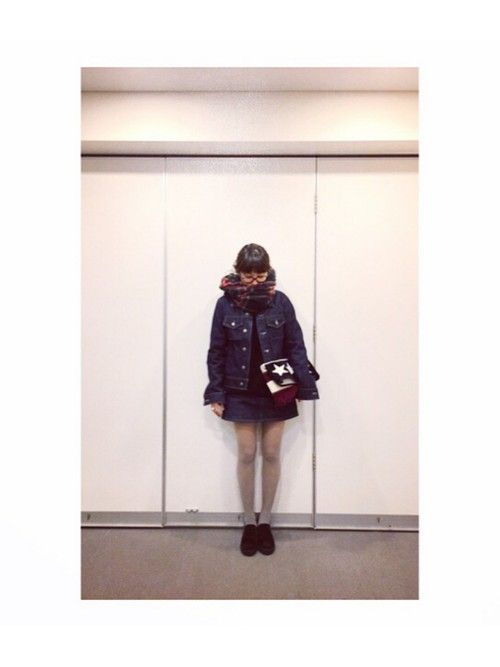 高橋愛さんのデニムジャケット「American Apparel 」を使ったコーディネート