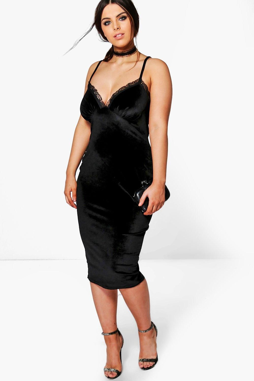 31fa9515c0502 Plus Size Velvet Lace Trim Strappy Bodycon Dress