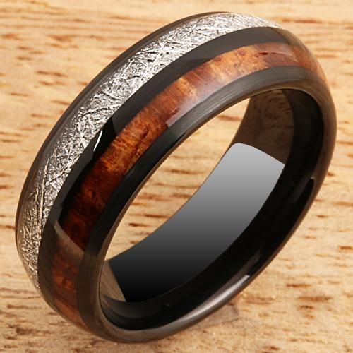 Koa Wood Ring Meteorite Inlay Black Tungsten Wedding Ring 8mm