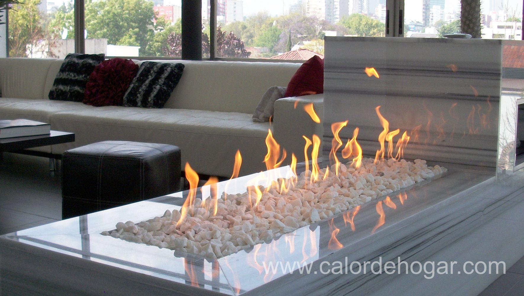 Chimenea moderna de gas loft basic contemporanea - Chimeneas minimalistas ...