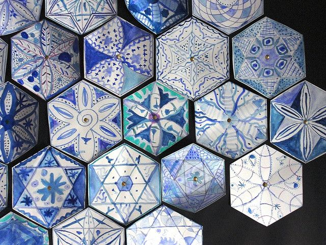 delft tiles with an islamic twist--mandala inspiration from Maureen Crosbie
