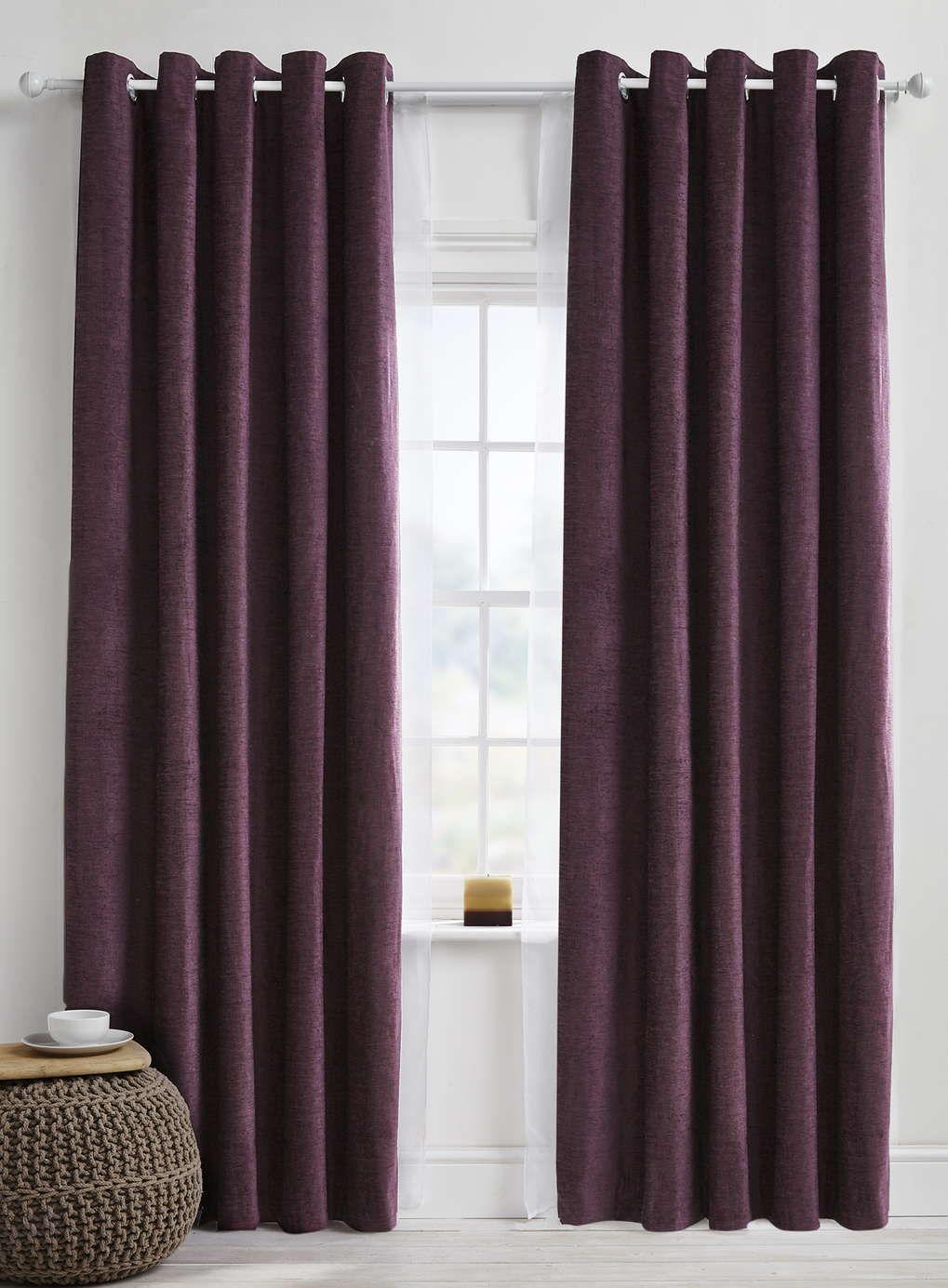 Plum Essentials Chenille Curtain Range BHS Chenille