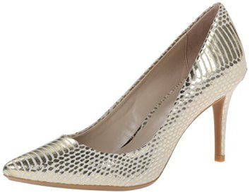 Calvin Klein Womens Gayle Pump Gold Leather