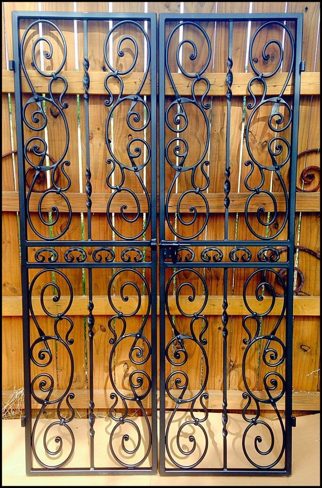 Double Iron Wine Cellar Door Forged Scroll Pantry Winery Gate