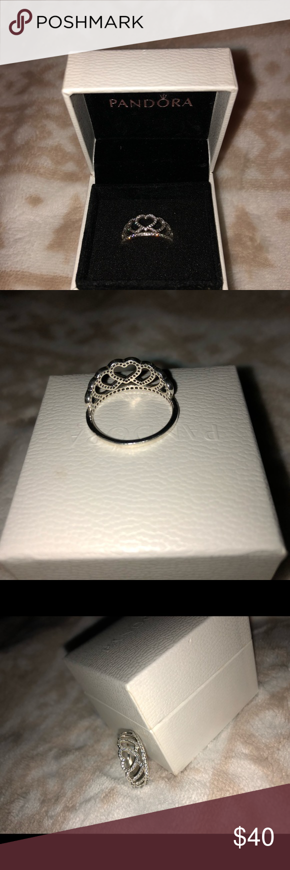 aeb4fbb9ee6 Pandora Hearts Tiara Ring Size 7; The pandora hearts tiara ring is part of  the pandora princess collection. slightly worn but good condition. 92.5%  silver ...