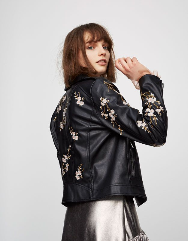 Faux leather jacket with flower embroidery - Coats and jackets - Clothing -  Woman - PULL&BEAR