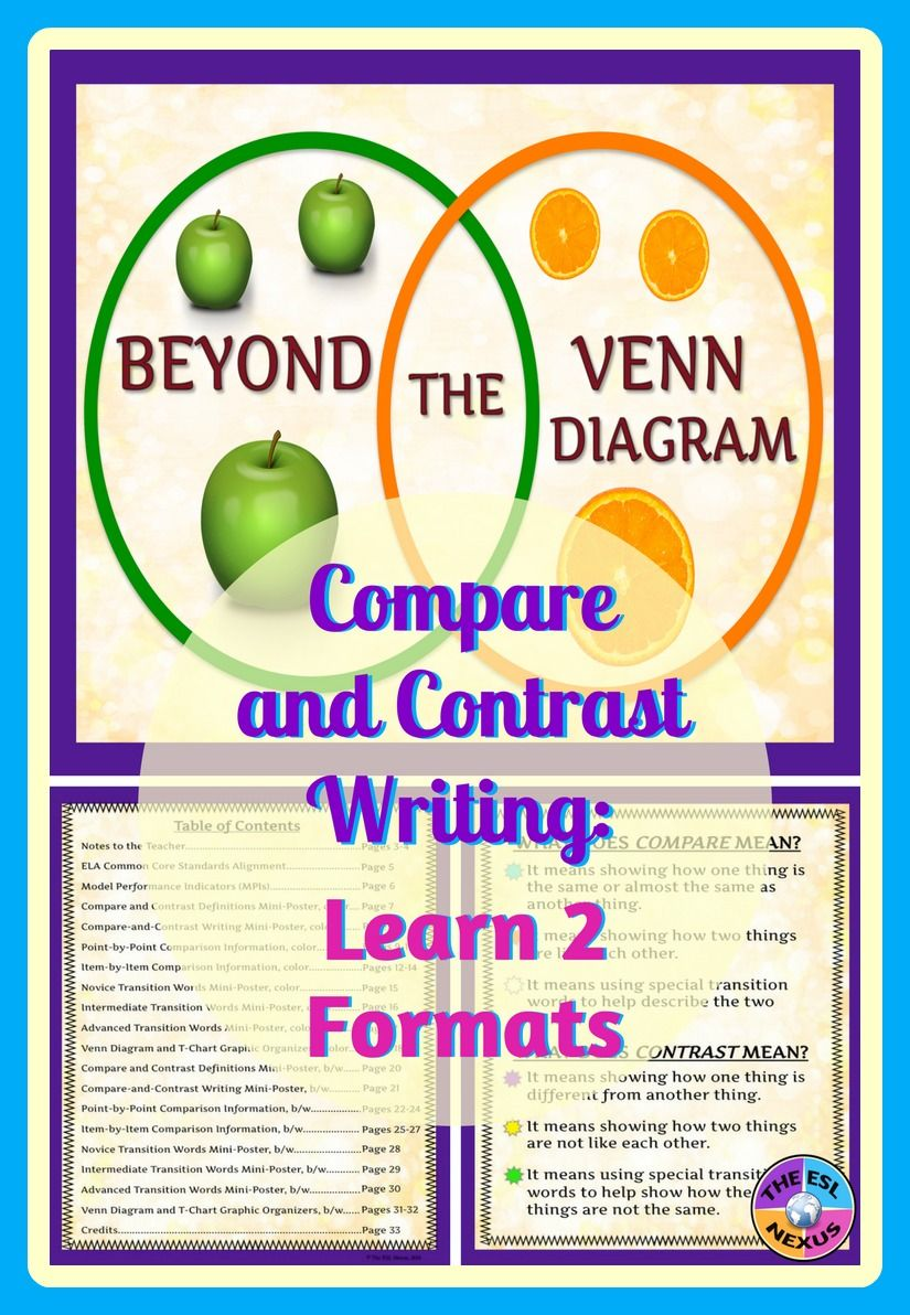 list of compare and contrast topics