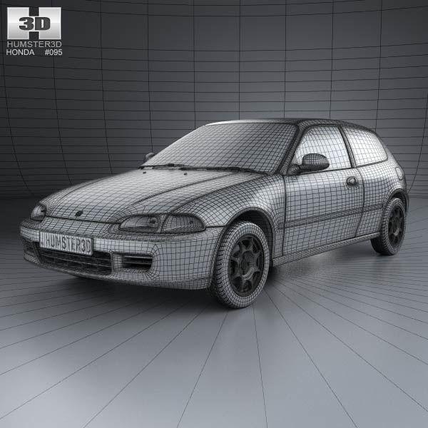 3d Model Of Honda Civic Hatchback 1991 Civic Hatchback Honda Civic Hatchback Honda Civic