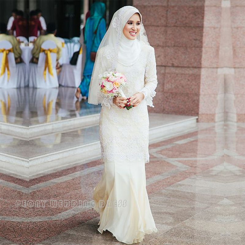 Find A Fashion Simple Chiffon Lace Hijab Muslim Wedding Dresses Sheath Muslim Wedding Dress B Hijab Wedding Dresses Muslim Wedding Dress Muslim Wedding Dresses