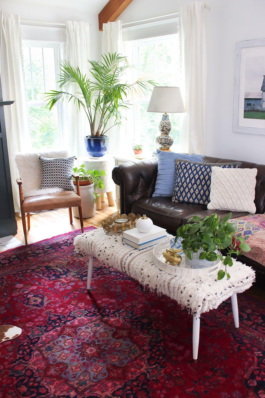 DIY Moroccan Wedding Blanket Ottoman as a coffee table #moroccan #livingroom