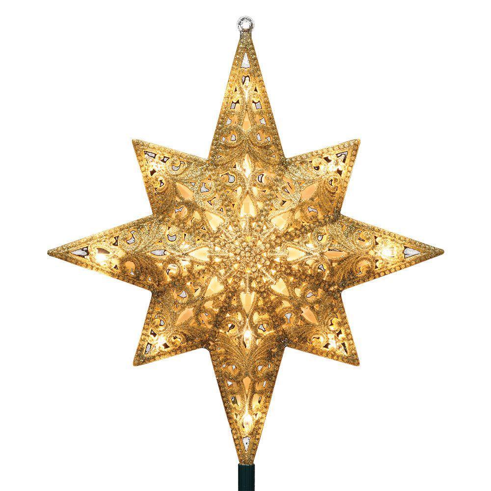 Ge Holiday Classics 11 In 16 Light Gold Glittered Bethlehem Star Tree Top 71075hd Christmas Tree Star Star Decorations Star Tree Topper