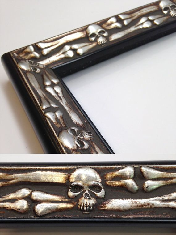 Skull Bones Picture Frame Silver And Black 3x5 4x6 5x7 Etsy Custom Size Frames Framed Gifts Unique Picture Frames