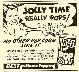 Vintage Jolly Time popcorn ad, 1952. #vintage #1950s #food