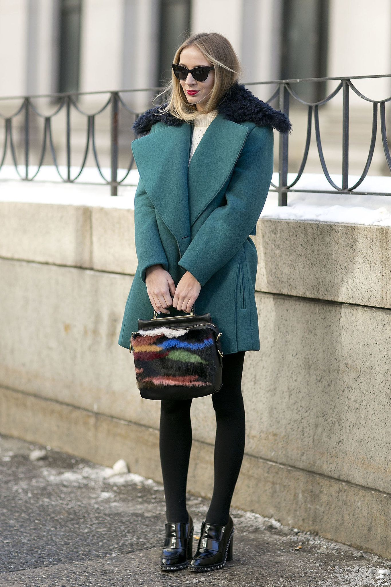 We feel hard for Harley Viera-Newton's jewel-toned coat and fur-covered 3.1 Phillip Lim bag. - Street Style at New York Fashion Week #NYFW                                                                                                3 / 242