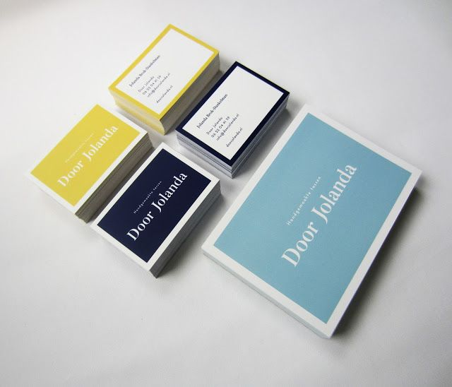 Nieuwe huisstijl 2016. Handgemaakte tassen Door Jolanda. Dit alles in drie kleuren. Donkerblauw als hoofdkleur, lichtblauw als tweede kleur en geel als accentkleur.
