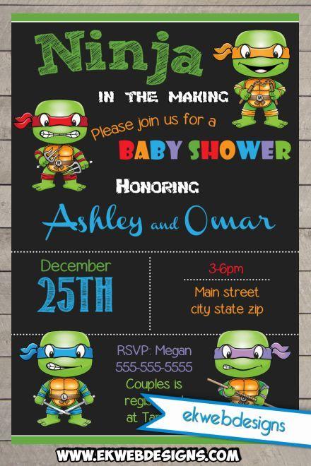 Printable Custom Ninja Turtle Baby Shower Invitations