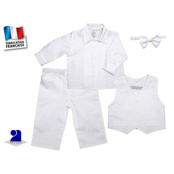 e50df6d2b951a Costume blanc bébé en coton et lin pour un baptême ou un mariage Taille 9  mois