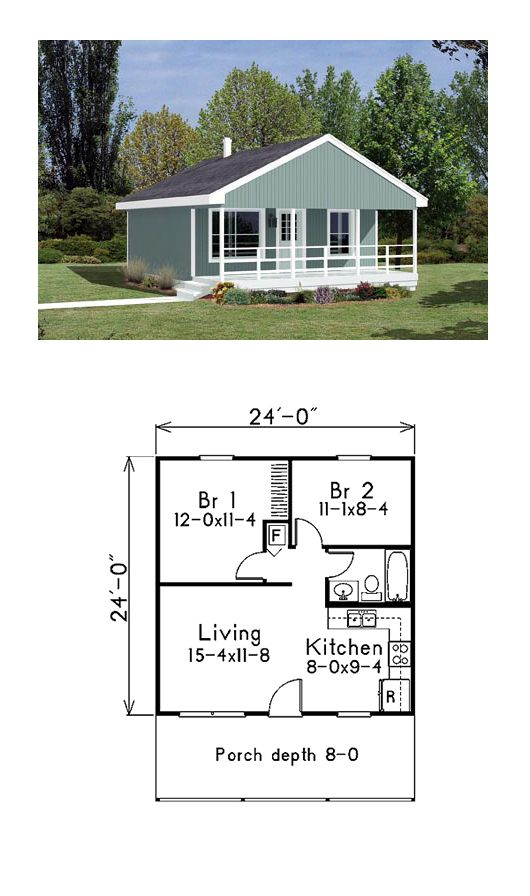 Narrow Lot House Plan 85939 Total Living Area 576 sq ft, 2 - plan maisonnette en bois