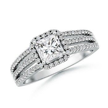 Angara Floating Princess-Cut Diamond Halo Split Shank Engagement Ring Bgq3SFfs