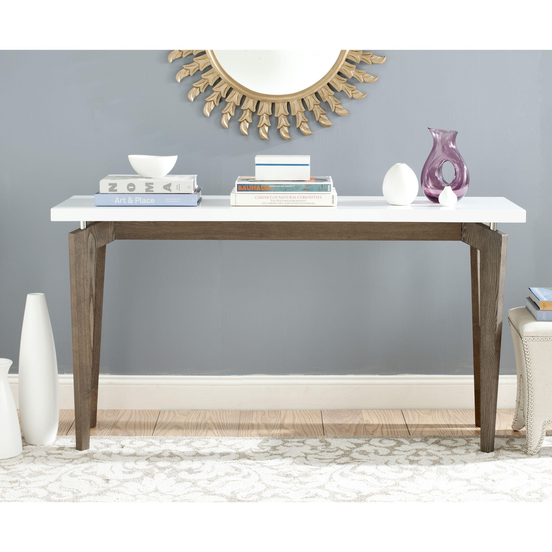 Hallway furniture oak Safavieh MidCentury Modern Josef White Dark Brown Lacquer Console