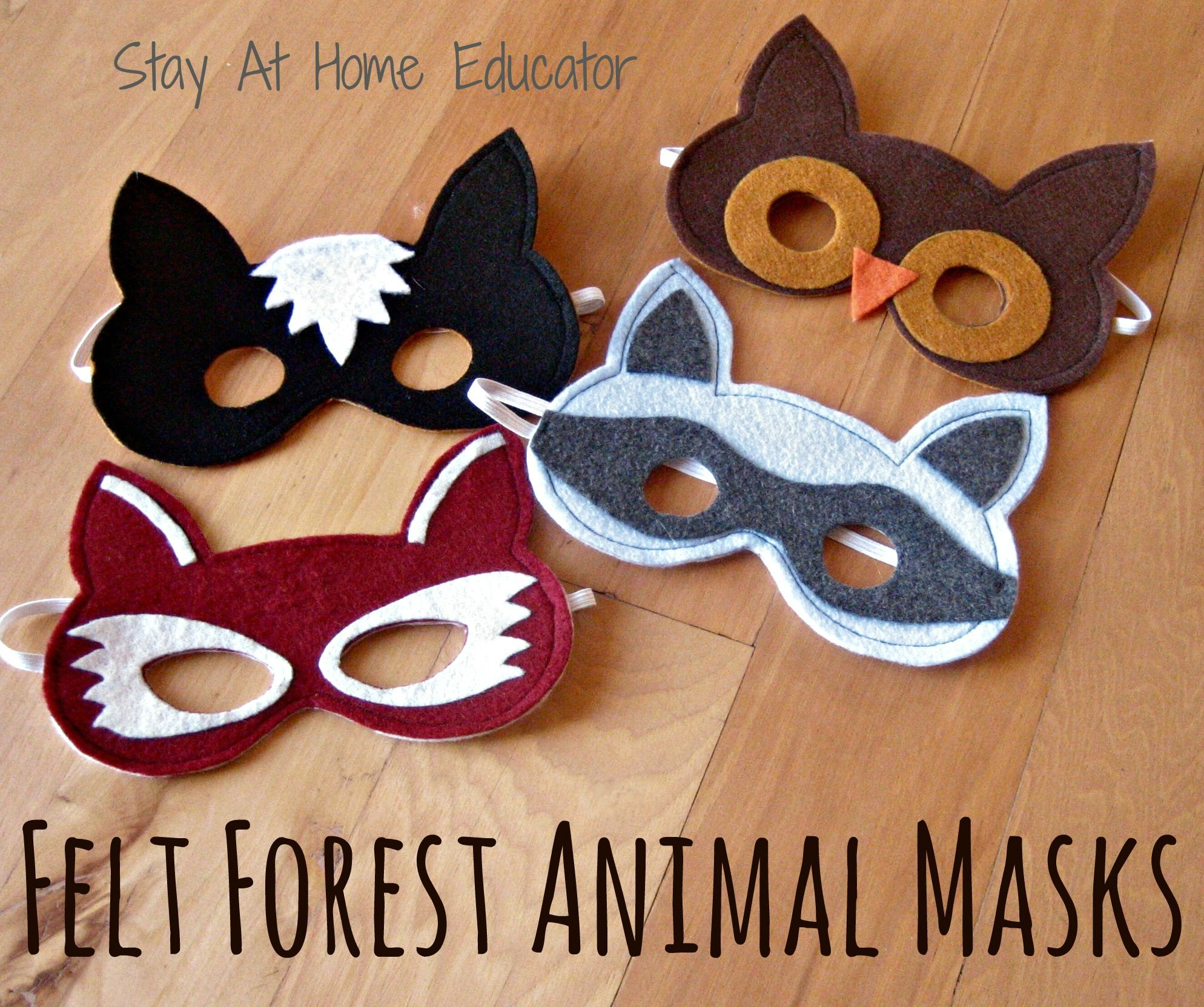 Felt forest animal masks forest animal crafts for Woodland animal masks template