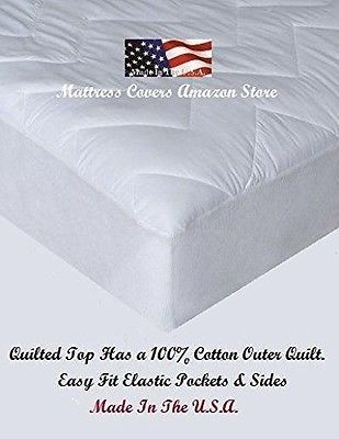 Tri Sew Super Single Super Twin Quilted Cotton Waterbed Mattress Pad