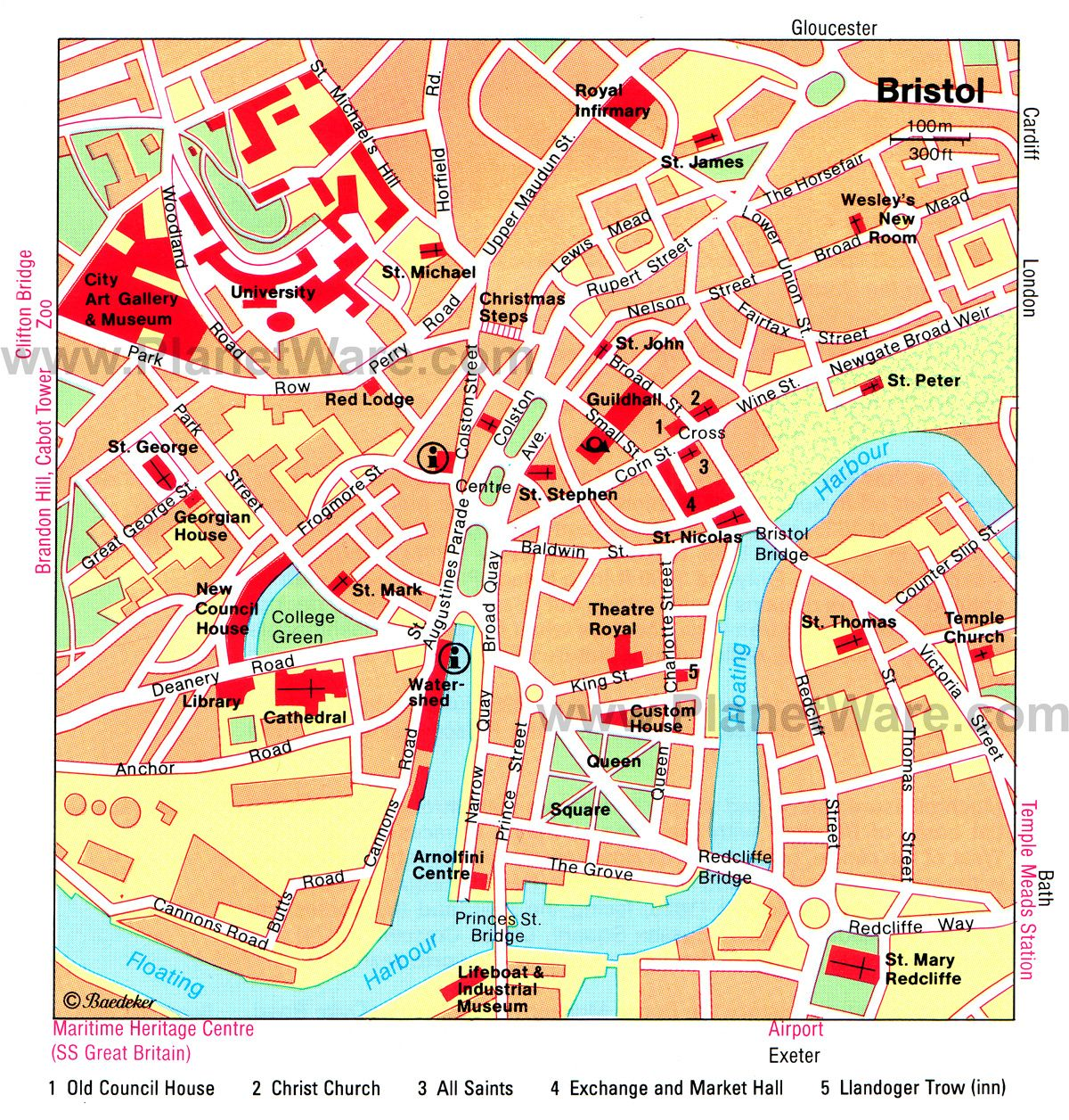 Map of Bristol Attractions PlanetWare UK Pinterest Bristol