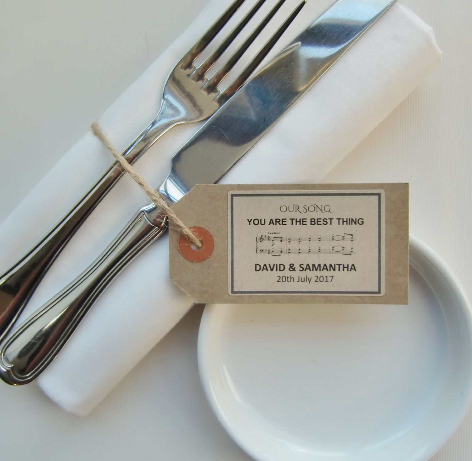 Rehearsal Dinner Ideas Napkin Ties WEDDING SONGS Rustic Tags With Ribbon String Choice Of Music Wedding