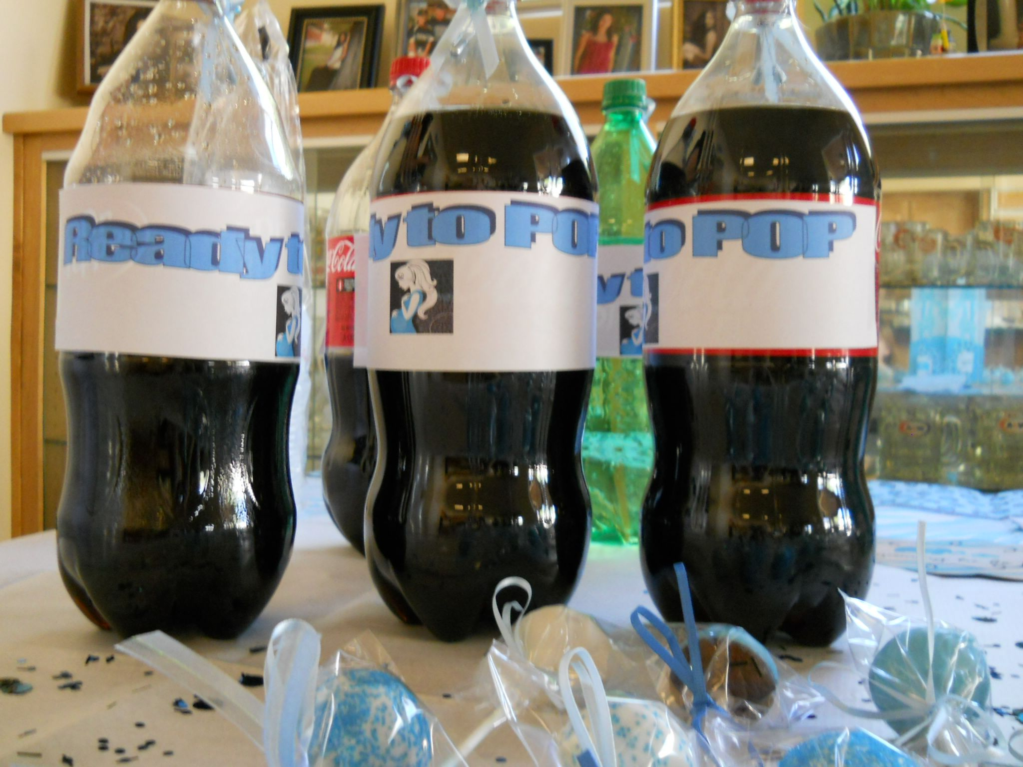 Ready To Pop With soda Bottles,  Just made the labels on microsoft word and printed them out and taped them to bottles easy and cute!
