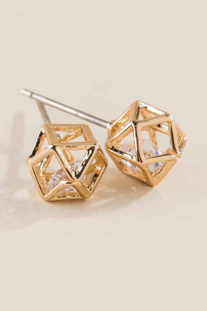 Teegan Cubic Zirconia Ball Stud Earrings Gold Clalternate Cubiczirconia