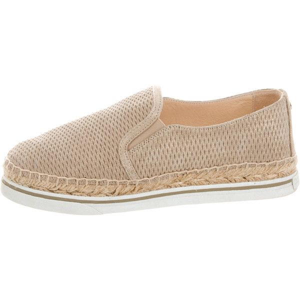 Pre-owned Jimmy Choo Dawn Slip-On Sneakers ($145) ❤ liked on Polyvore featuring shoes, sneakers, slip on trainers, jimmy choo, tan slip on sneakers, suede sneakers and jimmy choo shoes