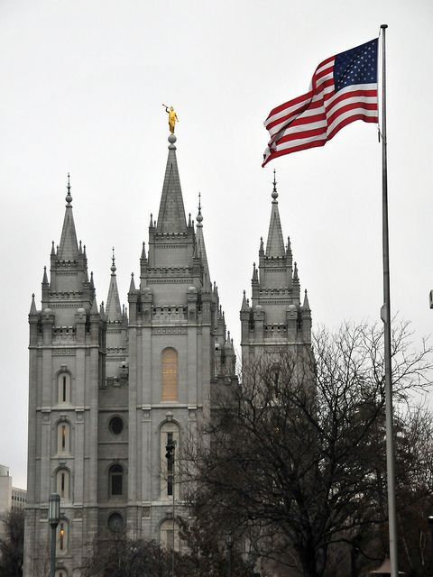 Mormon Salt Lake Temple With The American Flag Happy 4th