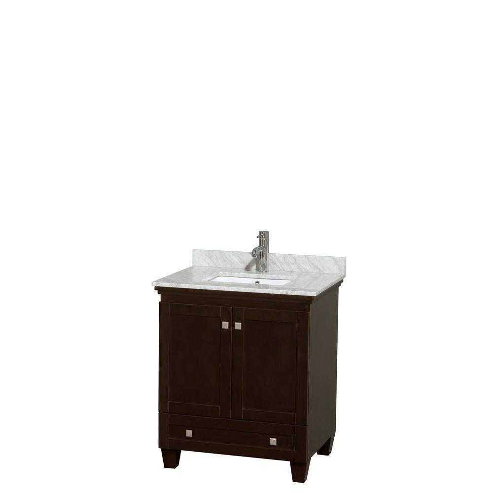 Wyndham Collection Acclaim 30 in. Vanity in Espresso with Marble Vanity Top in White Carrara and Undermount Square Sink
