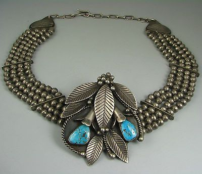 Vntg-Navajo-ROY-VANDEVER-d-Turquoise-Leaf-Cluster-Necklace