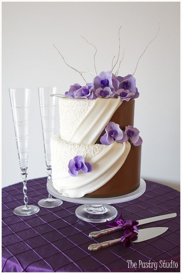 Half White Half Chocolate Wedding Cake with sugar-paste lavender orchids