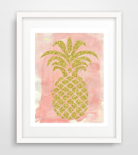 Gold And Pink Pineapple Print DIY Home Decor Poster Wall Art Glitter