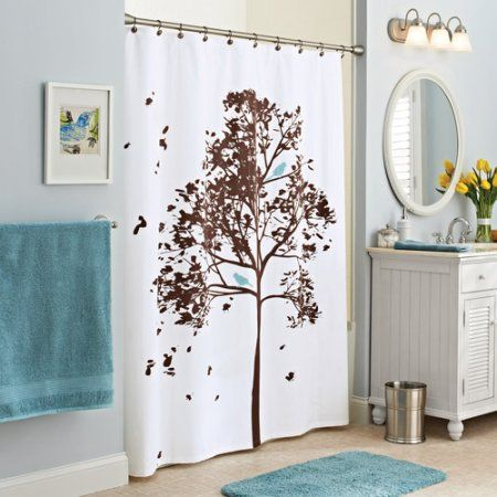 Better Homes And Gardens Farley Tree Fabric Shower Curtain Brown