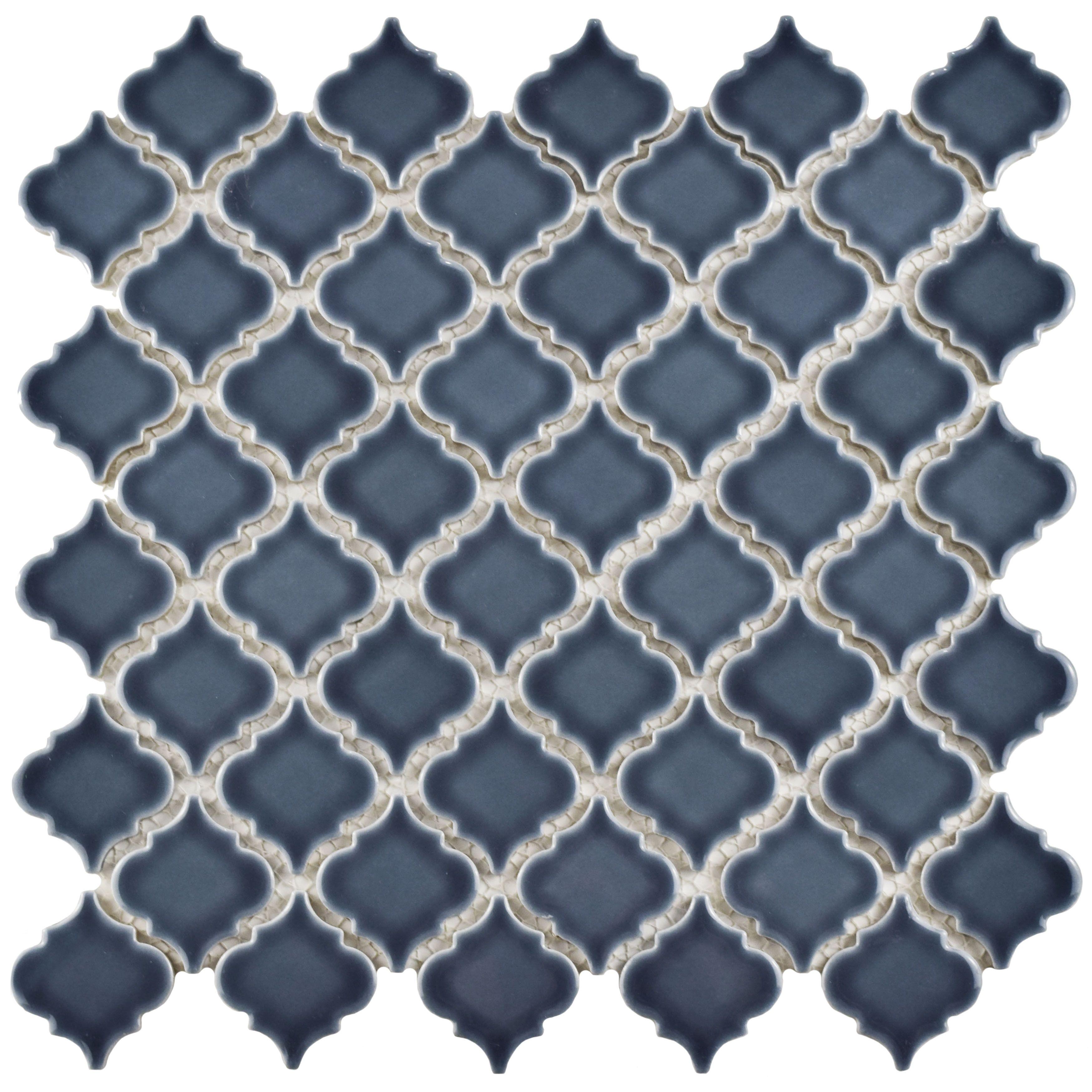 SomerTile Antaeus Storm Grey Lantern-shape Porcelain Mosaic Floor ...