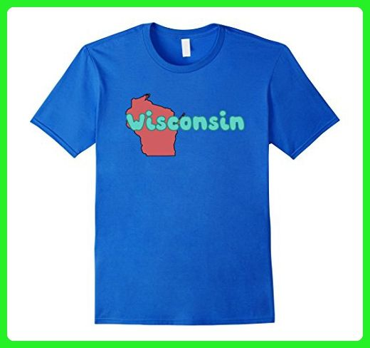 Mens Wisconsin Cool Retro Style WI Outline Graphic Gift T-Shirt Medium Royal Blue - Retro shirts (*Amazon Partner-Link)